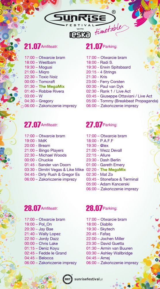 Sunrise-Timetable 2012, Quelle: sunrisefestival.pl